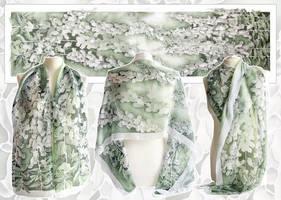 Silk scarf Foxglove - For sale by MinkuLul