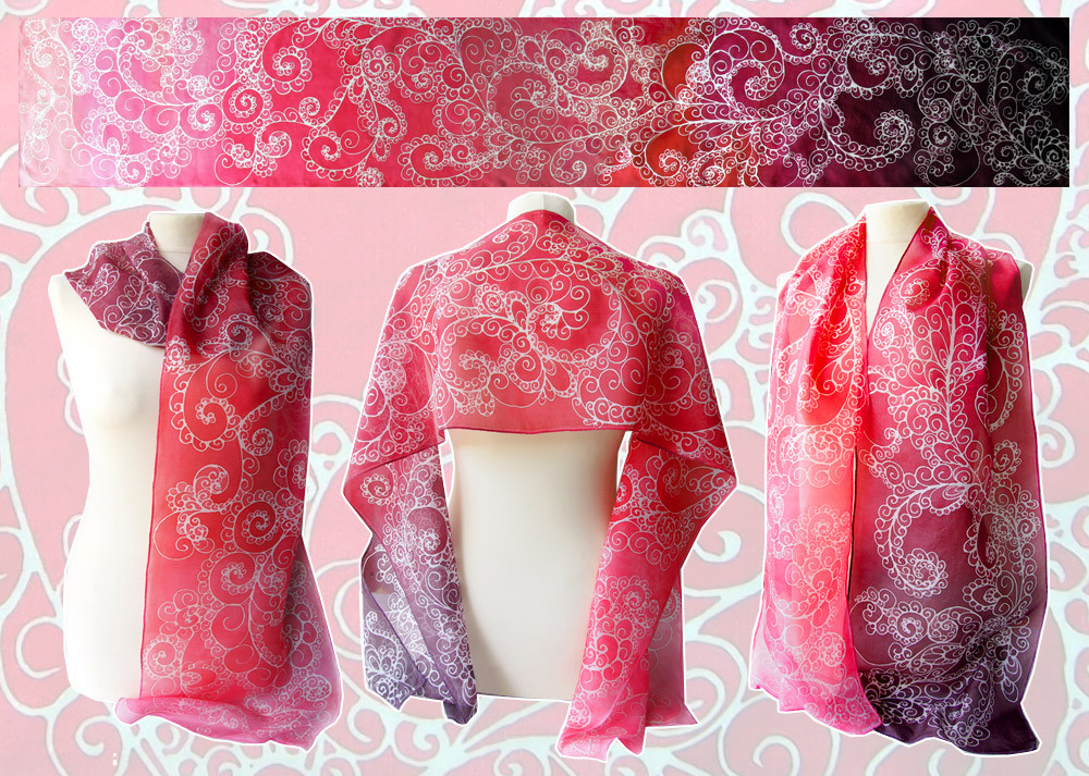 Silk scarf Fire - for SALE by MinkuLul
