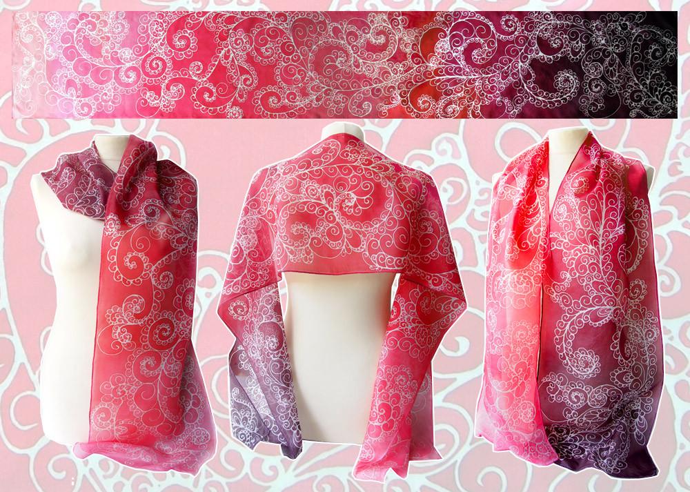 Silk scarf Fire - for SALE by MinkuLul