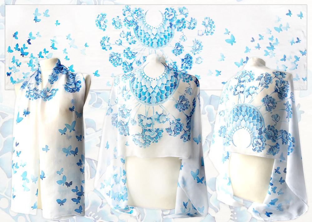 Wedding Silk Scarf - for sale by MinkuLul