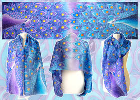 Silk scarf Peacock - for sale