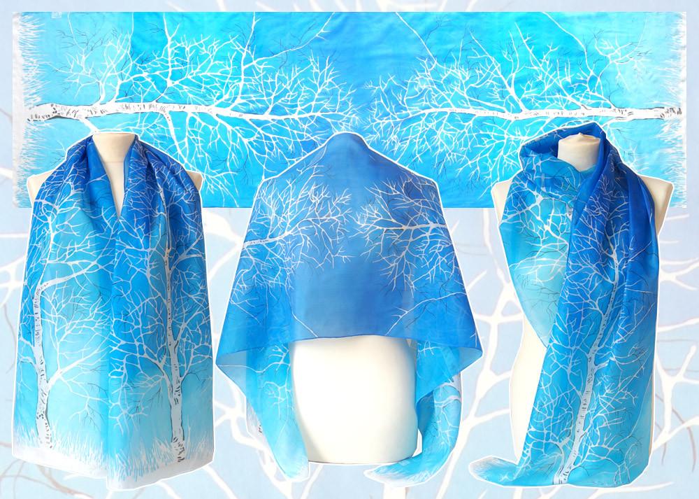 Birch silk scarf - for sale by MinkuLul