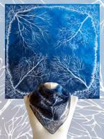 Silk Scarf White Trees by MinkuLul