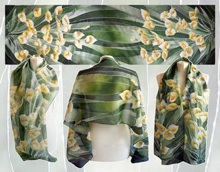 Calia flowers silk scarf - ready! by MinkuLul