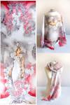 silk scarf Mucha Lilies