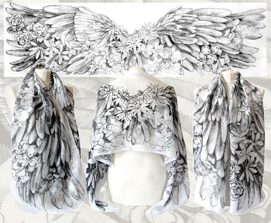 Angelic Wings silk scarf by MinkuLul