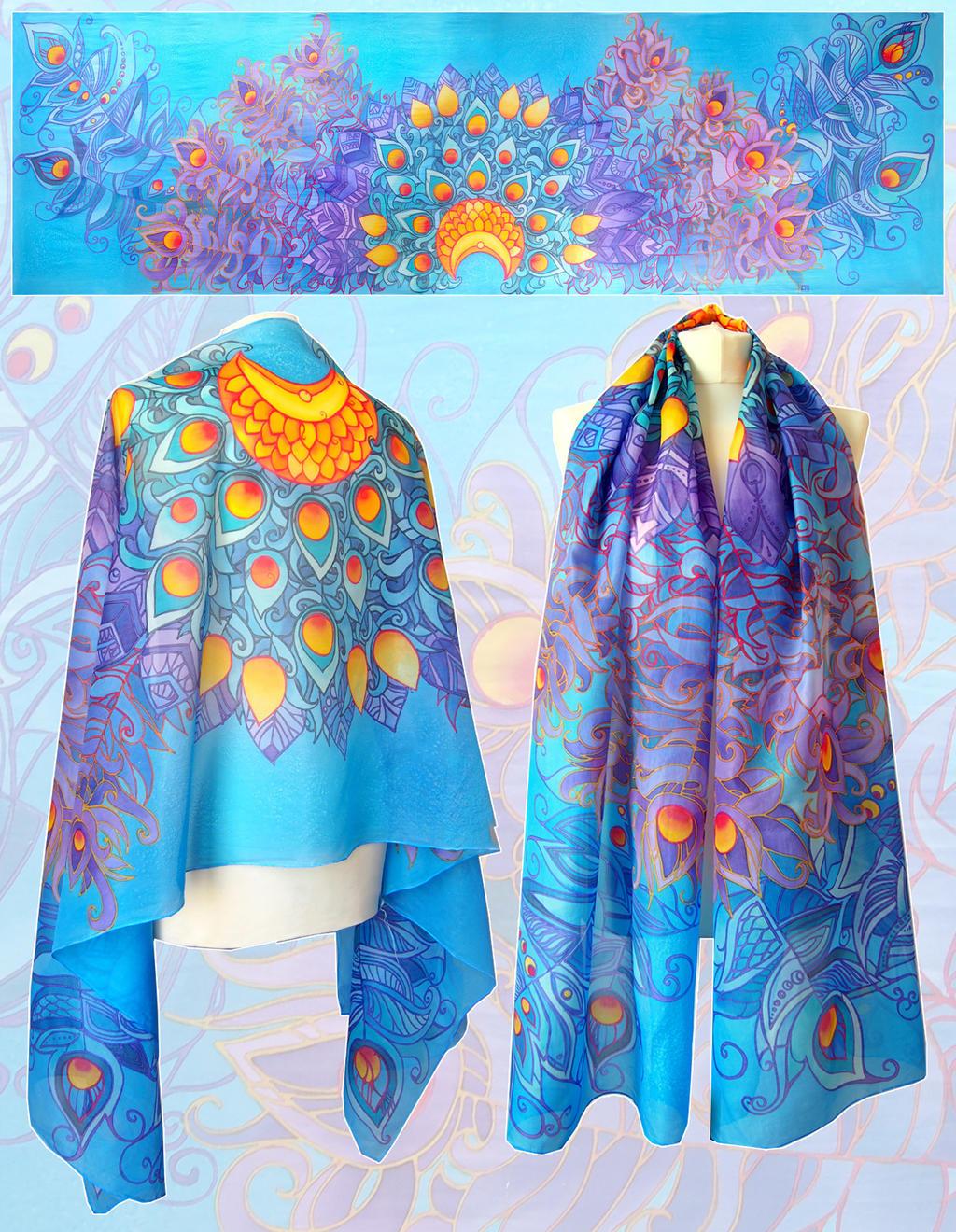 Peacock Feathers silk scarf by MinkuLul