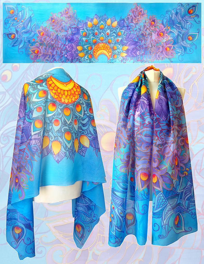 Peacock Feathers silk scarf by MinkuLul