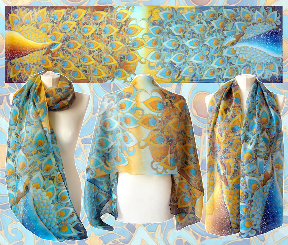 Peacock scarf on Habotai Light by MinkuLul