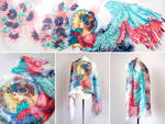 silk scarf Fire and Ice Angel