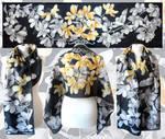 Silver and Gold Magnolia - black scarf