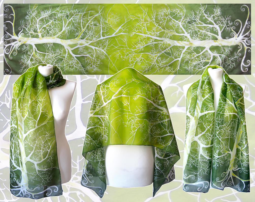 Fresh green silk scarf by MinkuLul