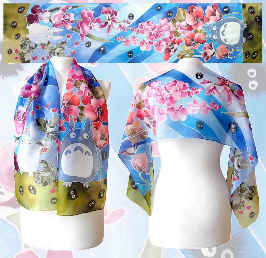 silk scarf Totoro ready to go on ETSY by MinkuLul