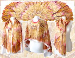 Aztec Wings silk scarf by MinkuLul