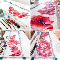 Poppies scarf painting process