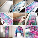 silk scarf Hummingbird - painting process