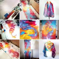 Painting Phoenix silk scarf - process