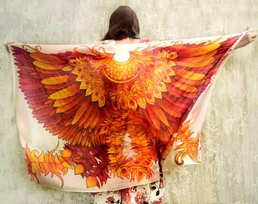 Firebird silk scarf - on Etsy