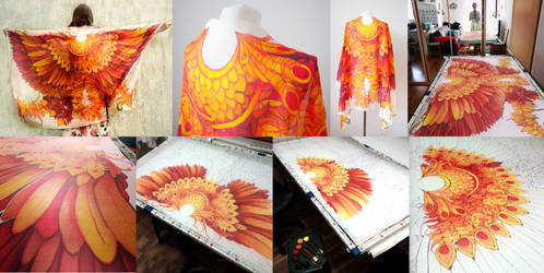 Firebird Wings silk scarf - painting process by MinkuLul