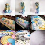 Silk Scarf Flowers - painting process