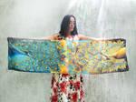 Peacock scarf on ligth silk
