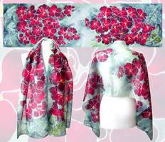 Hollyhock silk scarf by MinkuLul
