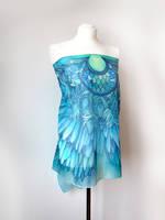 Ocean Wings silk scarf as pareo by MinkuLul