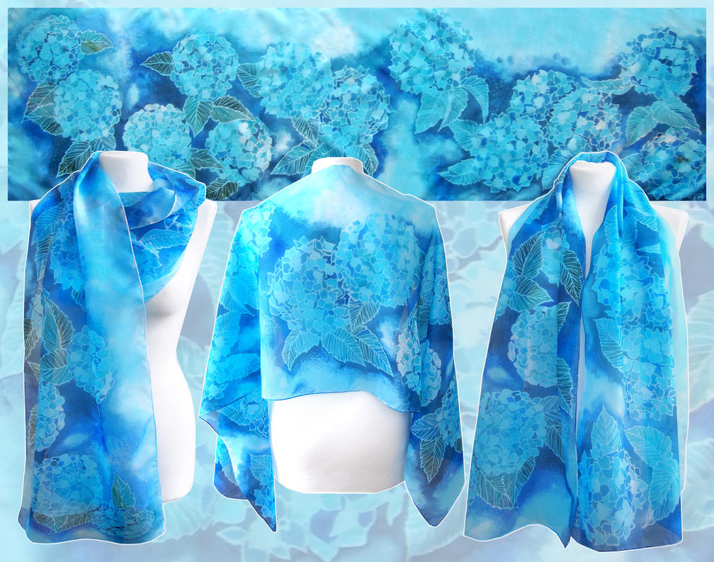 Silk scarf Blue Hydrangea Flowers by MinkuLul