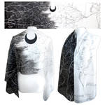 Black Moon and Forest God on silk scarf