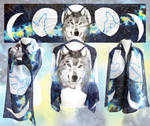 Silk scarf Wolf And Moon