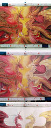 Silk painting process - Dragons by MinkuLul