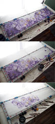 Painting silk scarf Pansy by MinkuLul