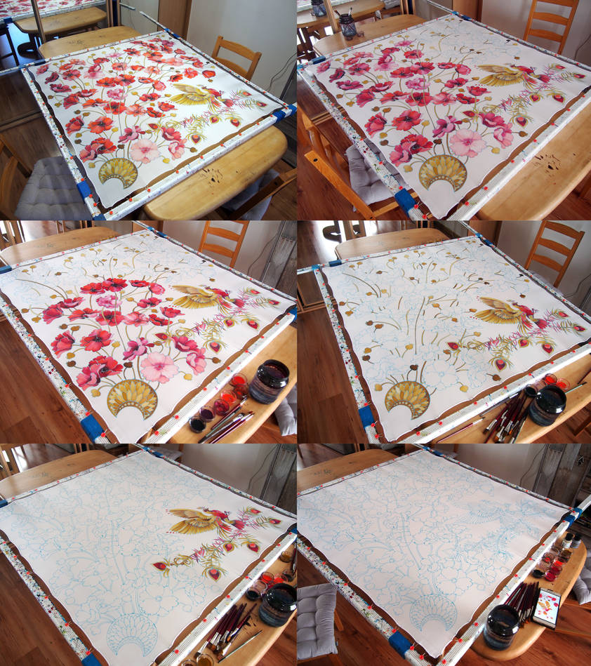 Painting process - Firebird and Poppies scarf by MinkuLul