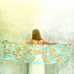 Daylily flowers silk scarf