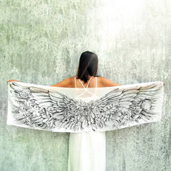 Angelic Wings hand drawn on silk