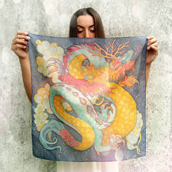 Chinese Dragon square scarf