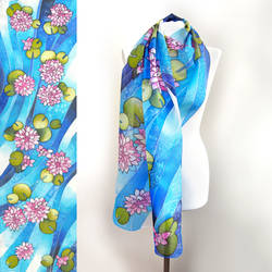 Lotus flowers silk scarf