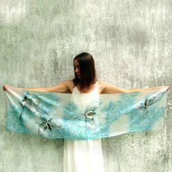 Magpie silk scarf