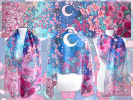 Crescent Moon silk scarf