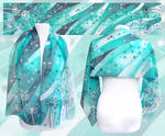 Dandelion silk scarf hand painted in turquoise