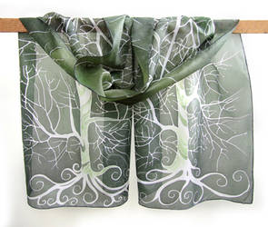 Moss Green silk scarf with White Tree