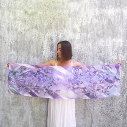 Purple Iris silk scarf