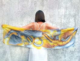 Gold and silver dragons scarf