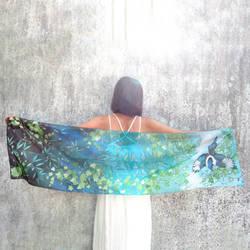 Silk scarf Magpie