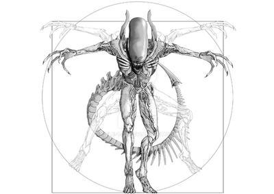 Vitruvian Alien tattoo design