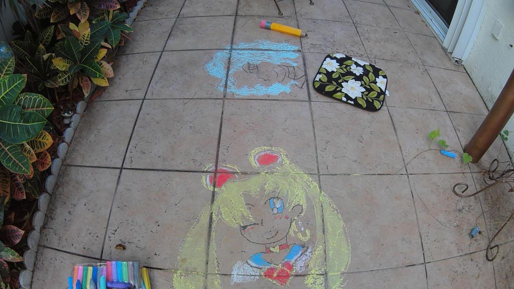 sailor moon chalk drawing by NightmareNatsu