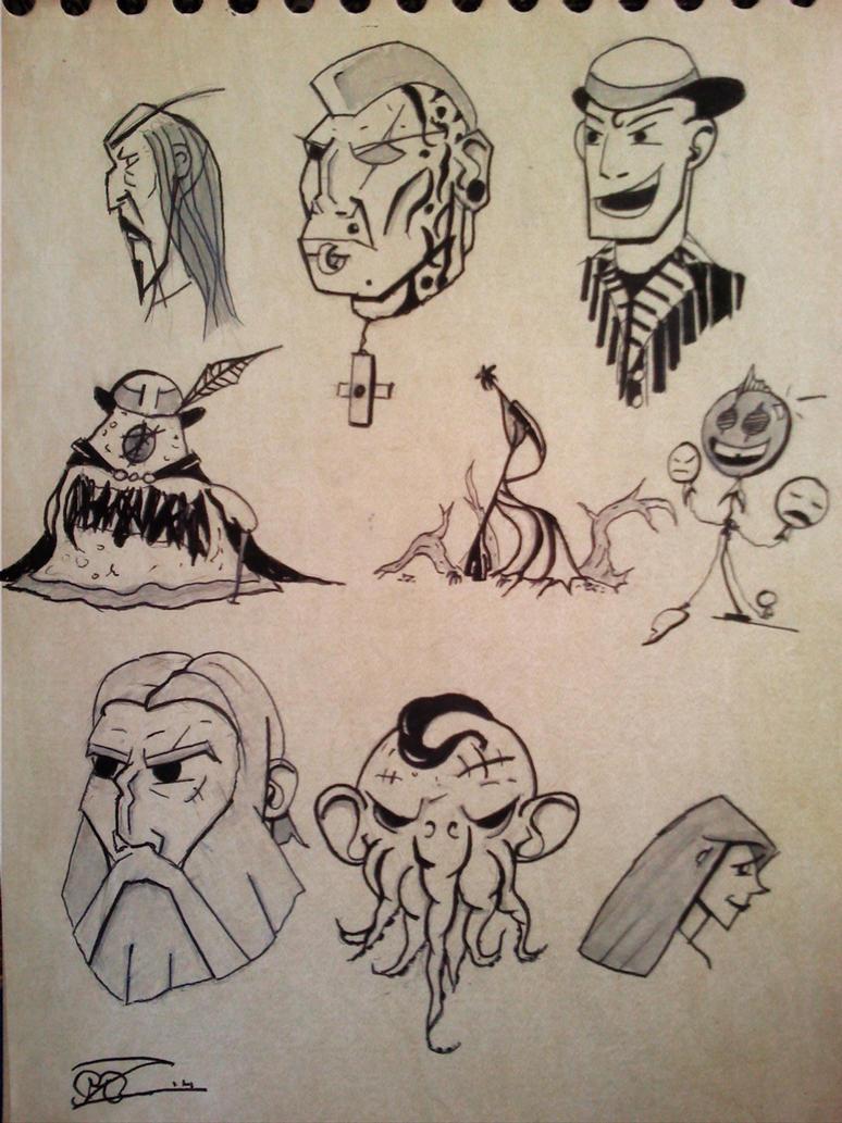 Face sketches 5 : happy balloon by Mocrasar
