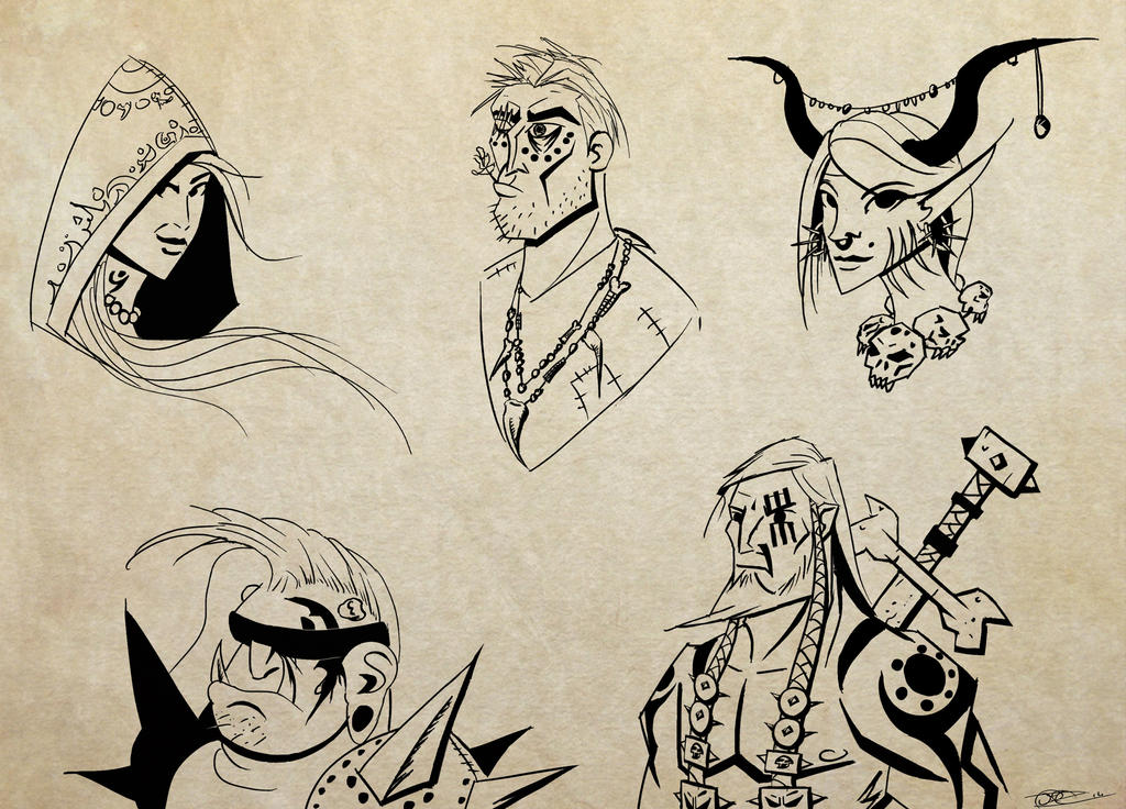 Sketches 8 : Demons and warriors by Mocrasar