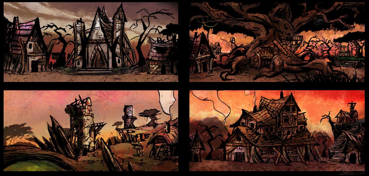 Fantasy village concept sketches by Mocrasar