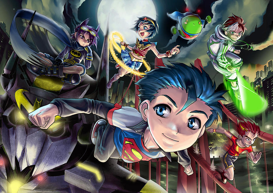 JLA Anime Teen Justice League by ARMYCOM